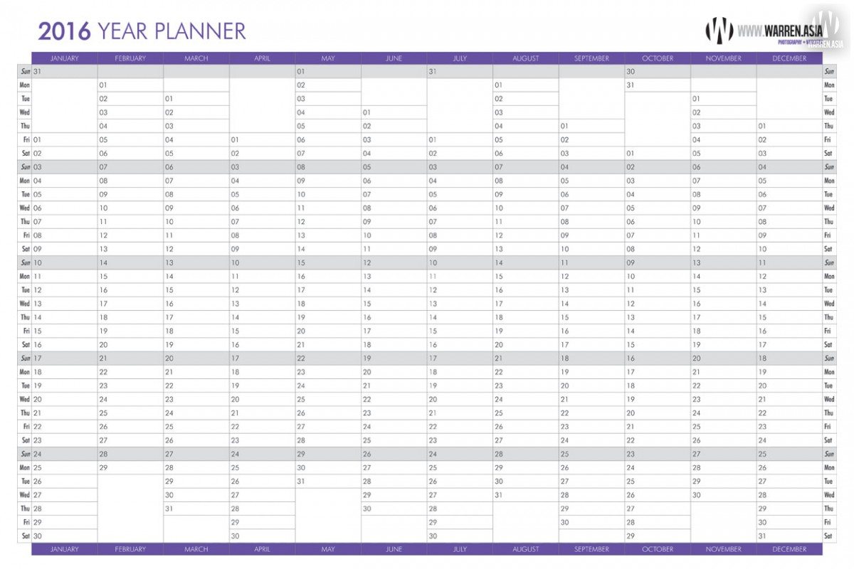 Free Wall Year Planner Download | News | Blog / Warrenasia Photography